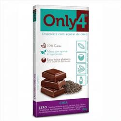 Chocolate com Açúcar de Coco e Chia - Only4 - 80g